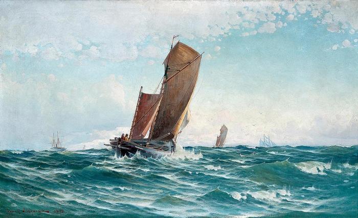 Halászhajó a hullámokban (1890), Ludvig Richarde